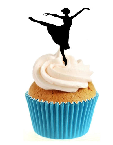 Dancing Ballerina Silhouette Stand Up Cake Toppers (12 pack)