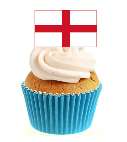 English Flag Stand Up Cake Toppers (12 pack)  Pack contains 12 images printed onto premium wafer card
