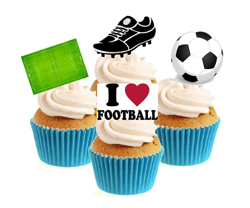Football Collection Stand Up Cake Toppers (12 pack)  Pack contains 12 images - 3 of each image - printed onto premium wafer card