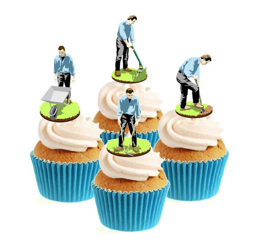 Retro Gardeners Stand Up Cake Toppers (12 pack)