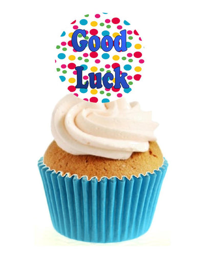 Good Luck Circle Stand Up Cake Toppers (12 pack)