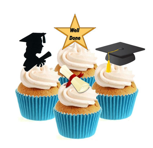 Graduate Female Collection Stand Up Cake Toppers (12 pack)