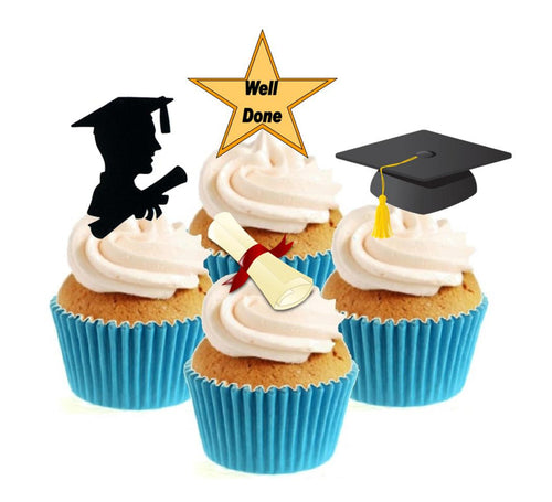 Graduate Male Stand Up Cake Toppers (12 pack)  Pack contains 12 images - 3 of each image - printed onto premium wafer card