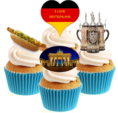 I Love Germany Collection Stand Up Cake Toppers (12 pack)