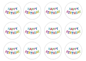 "Happy Birthday (HB02) 2"" pre cut icing discs  Pack contains 12 edible fondant icing pre cut icing discs  Easy to decorate a homemade or shop bought cake - simply peel and apply to your cakes"