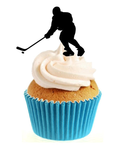 Ice Hockey Silhouette Stand Up Cake Toppers (12 pack)