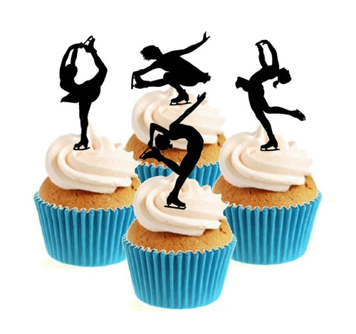 Ice Skating Silhouette Collection Stand Up Cake Toppers (12 pack)