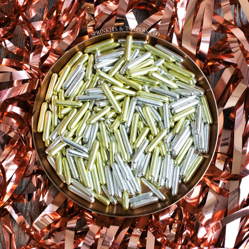 Gold & Silver Metallic Macaroni Rods (20mm) Sprinkles