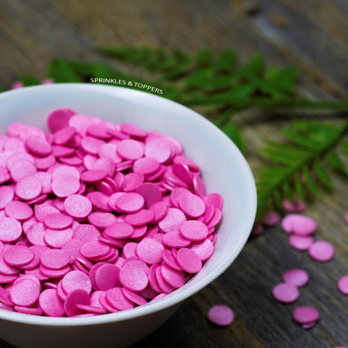 10mm Pink Glimmer Confetti Cupcake / Cake Decoration Sprinkles (100g)  Edible confetti with a lovely shiny finish  Perfect to top any cupcake, large cake, ice cream, cookies, shakes and more...