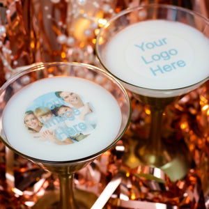 "Edible Photo ~ Text ~ Logo Drinks Toppers 2"" / 5 cm"