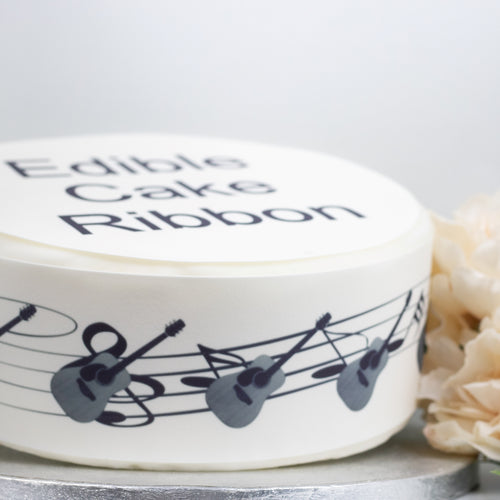 Side Strips Electric Guitar /& Music Notes Edible Icing Cake Ribbon 3 Strips