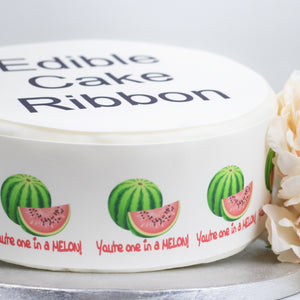 You're One In a Melon Edible Icing Cake Ribbon / Side Strips