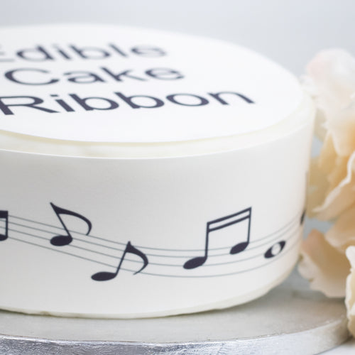 Music Notes Edible Icing Cake Ribbon / Side Strips