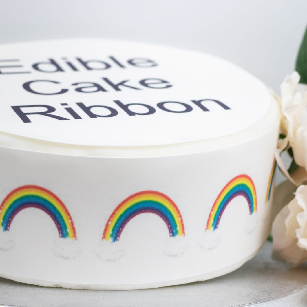 Rainbows, clouds & stars Edible Icing Cake Ribbon / Side Strips