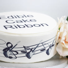 Load image into Gallery viewer, Electric Guitar & Music Notes Edible Icing Cake Ribbon / Side Strips