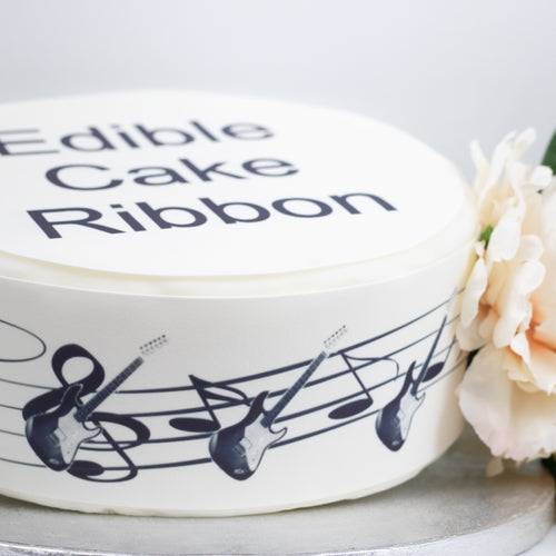 ELECTRIC GUITAR & MUSIC NOTES EDIBLE ICING CAKE RIBBON / SIDE STRIPS   Use instead of traditional ribbon to decorate the sides of your cakes  Edible fondant icing, perfect for that special occasion