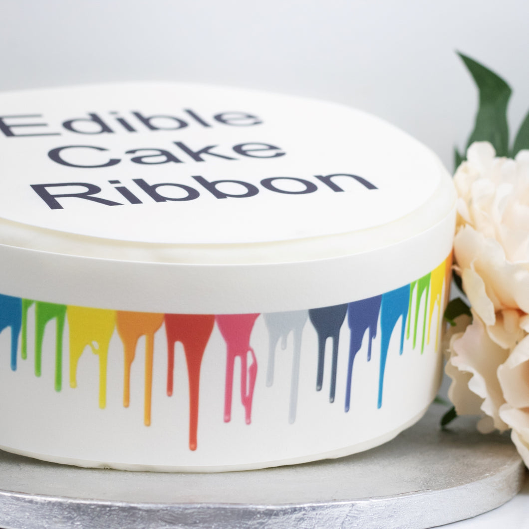 Paint Dripping Edible Icing Cake Ribbon / Side Strips