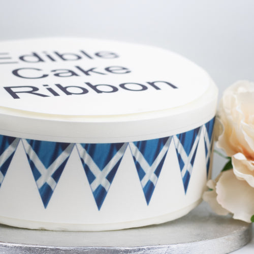 Scotland Flag Bunting Edible Icing Cake Ribbon / Side Strips