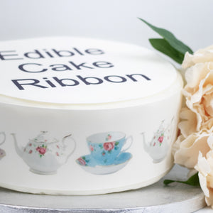 Vintage Time For Tea Edible Icing Cake Ribbon / Side Strips