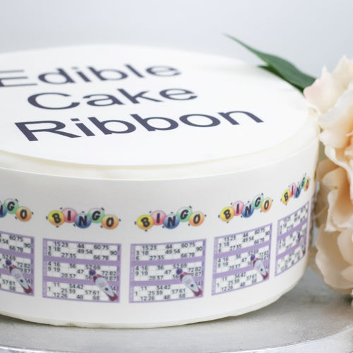 BINGO CARDS EDIBLE ICING CAKE RIBBON / SIDE STRIPS   Use instead of traditional ribbon to decorate the sides of your cakes  Edible fondant icing, perfect for that special occasion