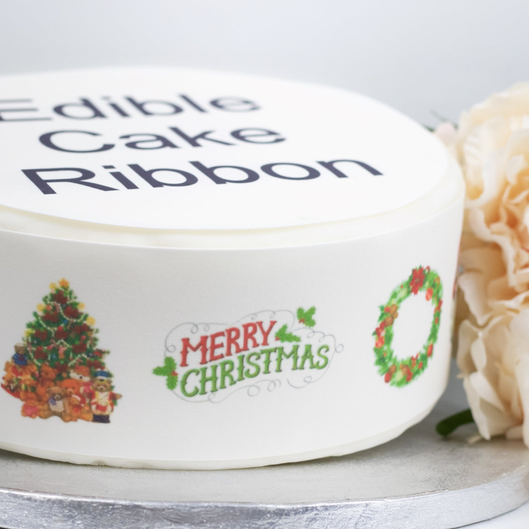 Traditional Christmas Edible Icing Cake Ribbon / Side Strips