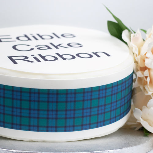 FLOWER OF SCOTLAND TARTAN EDIBLE ICING CAKE RIBBON / SIDE STRIPS   Use instead of traditional ribbon to decorate the sides of your cakes  Edible fondant icing, perfect for that special occasion