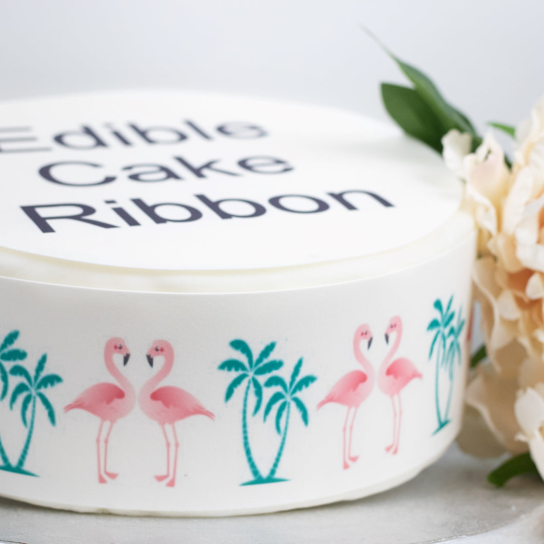 FLAMINGO & PALM TREES  EDIBLE ICING CAKE RIBBON / SIDE STRIPS   Use instead of traditional ribbon to decorate the sides of your cakes  Edible fondant icing, perfect for that special occasion