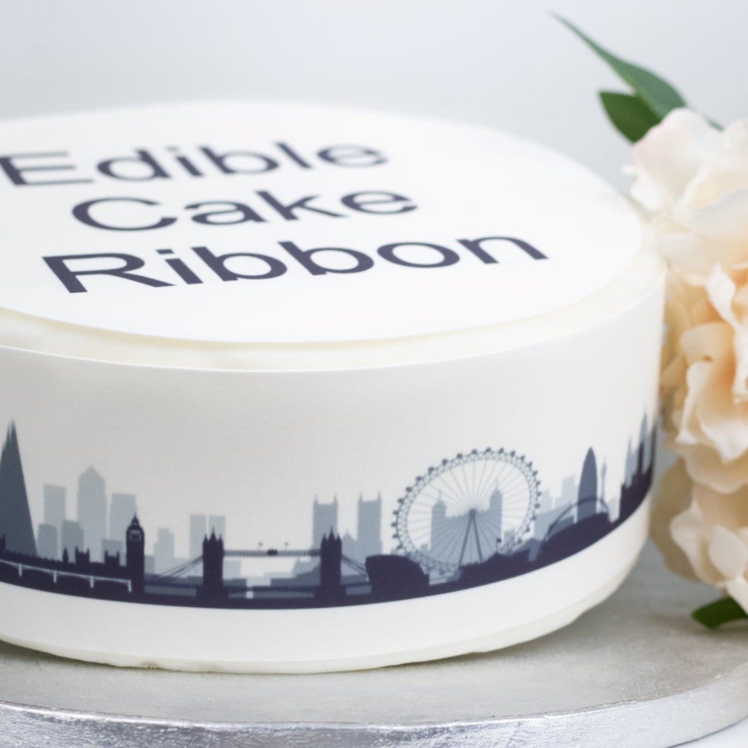 London Skyline Edible Icing Cake Ribbon / Side Strips