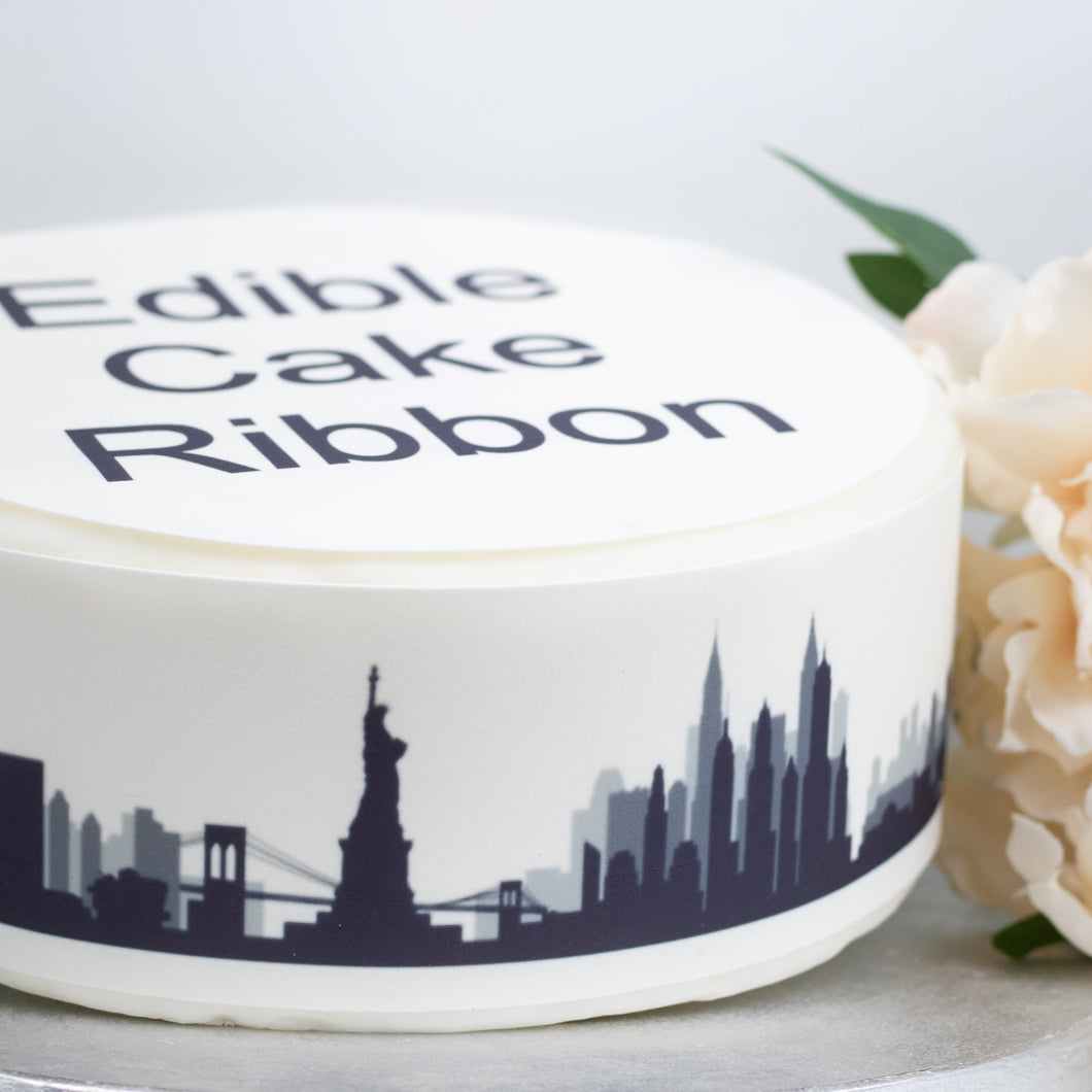New York City Skyline Edible Icing Cake Ribbon / Side Strips