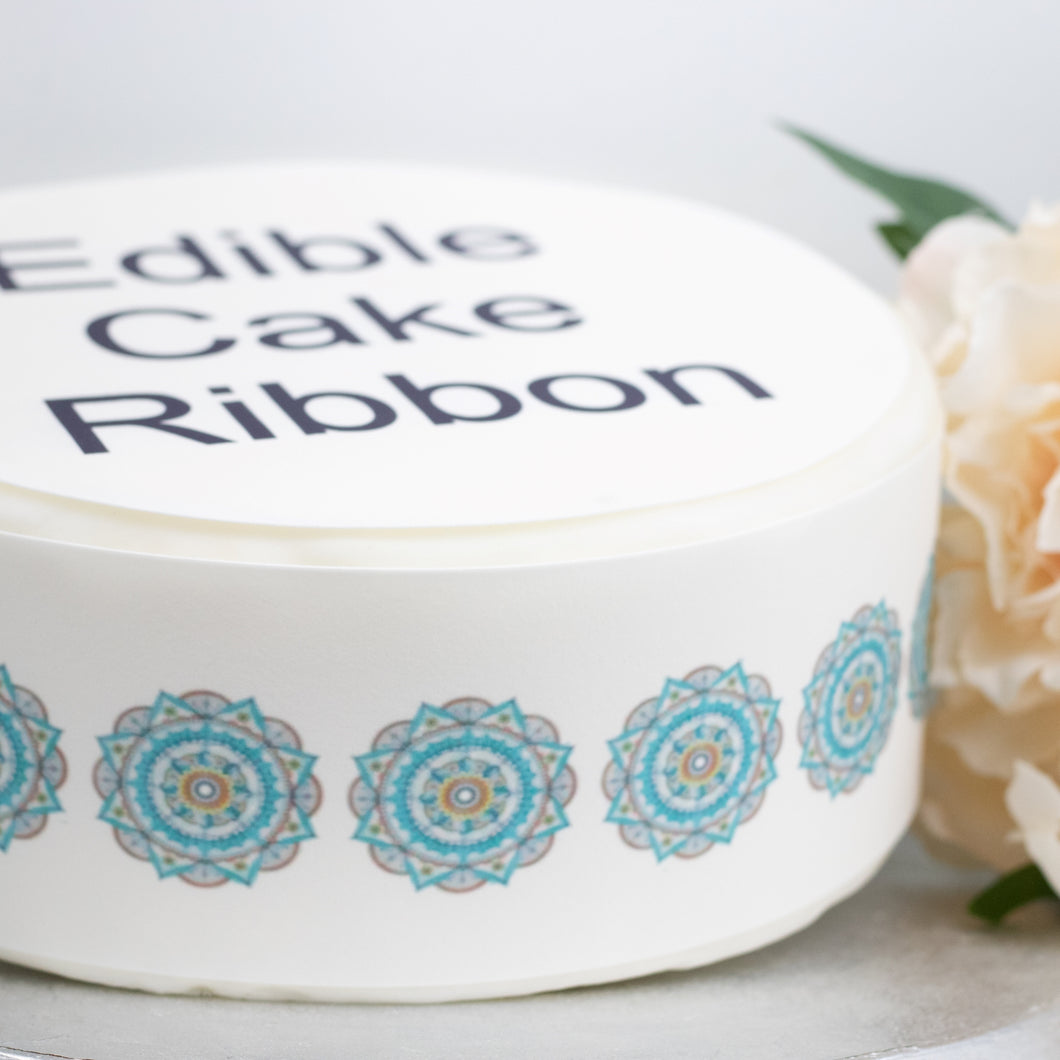Mandala Pattern Edible Icing Cake Ribbon / Side Strips