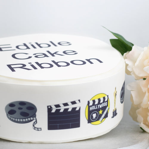 Hollywood Movie Star Edible Icing Cake Ribbon / Side Strips