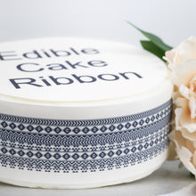 Load image into Gallery viewer, BLACK TRIBAL PATTERN EDIBLE ICING CAKE RIBBON / SIDE STRIPS   Use instead of traditional ribbon to decorate the sides of your cakes  Edible fondant icing, perfect for that special occasion