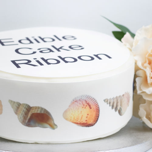 Sea Shells Edible Icing Cake Ribbon / Side Strips