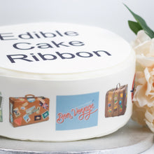 Load image into Gallery viewer, Bon Voyage Edible Icing Cake Ribbon / Side Strips