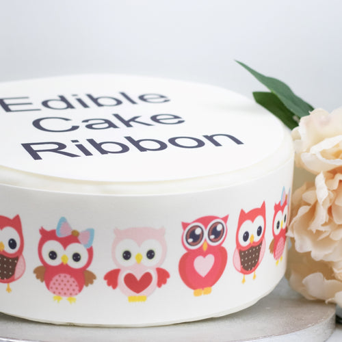 Pink Owls Edible Icing Cake Ribbon / Side Strips
