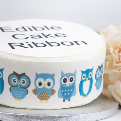 Blue Owls Edible Icing Cake Ribbon / Side Strips