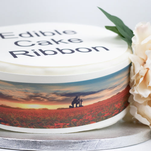Remembrance Day Edible Icing Cake Ribbon / Side Strips