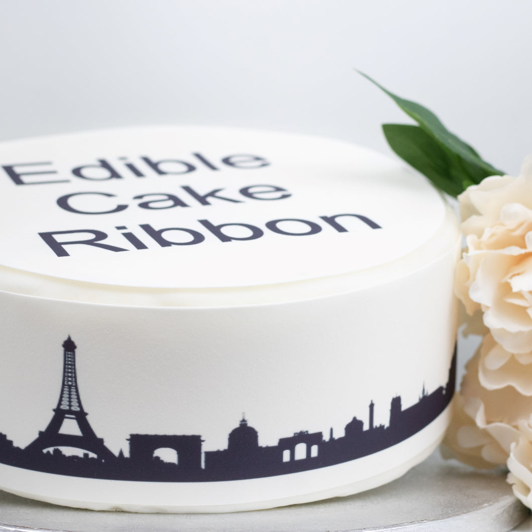 Paris Skyline Edible Icing Cake Ribbon / Side Strips