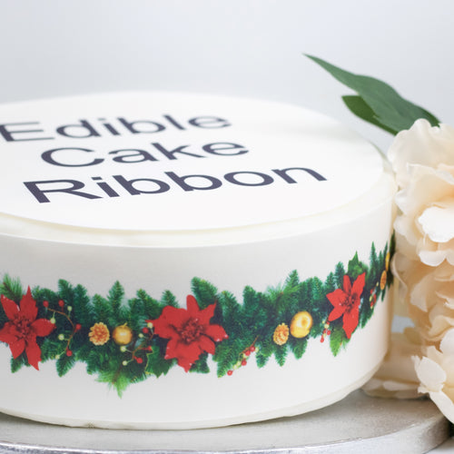 Poinsettia Garland Edible Icing Cake Ribbon / Side Strips