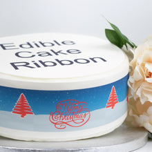 Load image into Gallery viewer, Reindeer & Christmas Trees Edible Icing Cake Ribbon / Side Strips