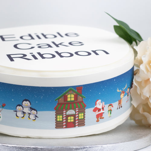 North Pole Scene Edible Icing Cake Ribbon / Side Strips