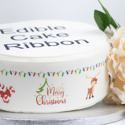 Merry Christmas Scene Edible Icing Cake Ribbon / Side Strips