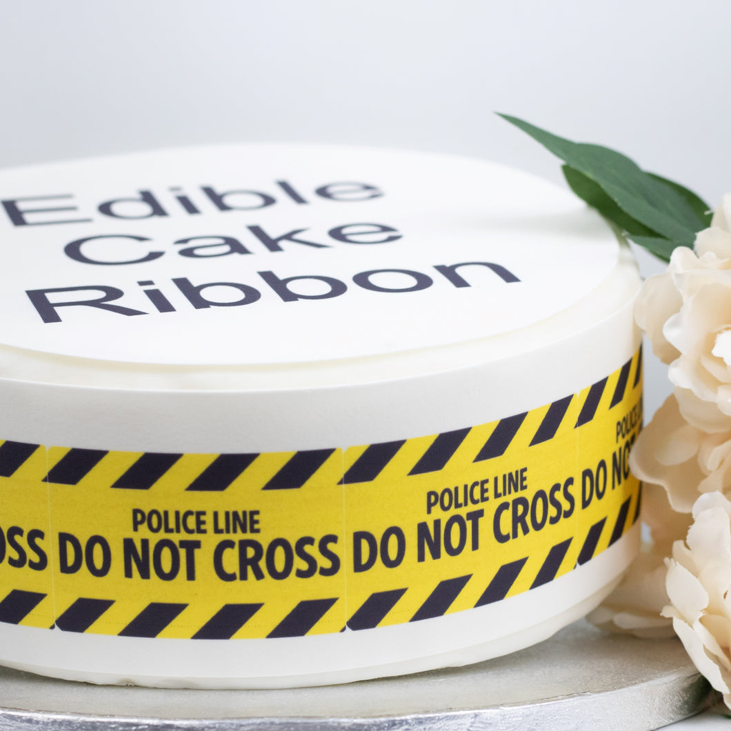 Police Line Do Not Cross Edible Icing Cake Ribbon / Side Strips
