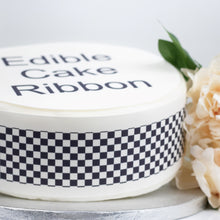 Load image into Gallery viewer, Black & White Check Edible Icing Cake Ribbon / Side Strips