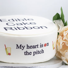 Load image into Gallery viewer, CRICKET THEMED EDIBLE ICING CAKE RIBBON / SIDE STRIPS   Use instead of traditional ribbon to decorate the sides of your cakes  Edible fondant icing, perfect for that special occasion