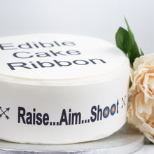 Load image into Gallery viewer, ARCHERY THEMED EDIBLE ICING CAKE RIBBON / SIDE STRIPS   Use instead of traditional ribbon to decorate the sides of your cakes  Edible fondant icing, perfect for that special occasion