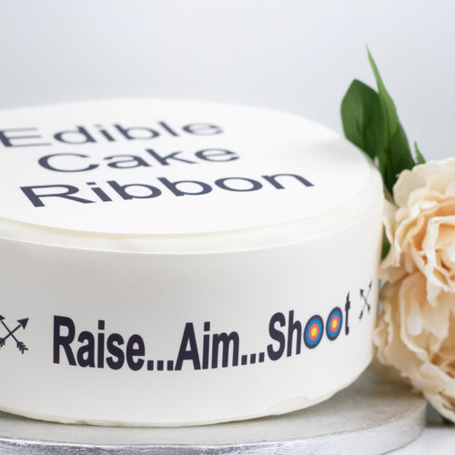 ARCHERY THEMED EDIBLE ICING CAKE RIBBON / SIDE STRIPS   Use instead of traditional ribbon to decorate the sides of your cakes  Edible fondant icing, perfect for that special occasion