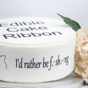 FISHING THEMED EDIBLE ICING CAKE RIBBON / SIDE STRIPS   Use instead of traditional ribbon to decorate the sides of your cakes  Edible fondant icing, perfect for that special occasion
