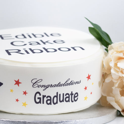 Congratulations Graduate Edible Icing Cake Ribbon / Side Strips