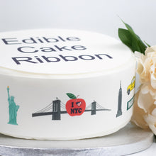 Load image into Gallery viewer, New York City USA Themed Edible Icing Cake Ribbon / Side Strips